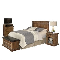 MER-1185 Home Styles Americana Headboard Bedroom Set in Natural Acacia Queen 2