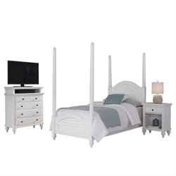 MER-1185 Bowery Hill 3 Piece Twin Bed Bedroom Set in White - Media Chest