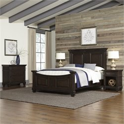 MER-1185 Bowery Hill 4 Piece Bed Bedroom Set in Black Oak