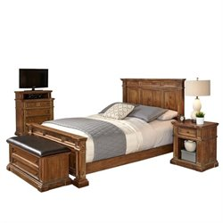MER-1185 Home Styles Americana King Bedroom Set in Natural Acacia 3