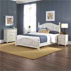 MER-1185 Bowery Hill 3 Piece Queen Poster Bedroom Set in White