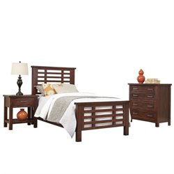Bowery Hill 3 Piece Wood Twin Bedroom Set in Chestnut