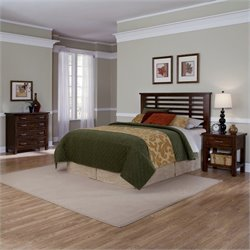 MER-1185 Bowery Hill 3 Piece Slat Headboard Set in Brown