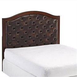 Bowery Hill King Tufted Panel Headboard with Brown Leather in Cherry