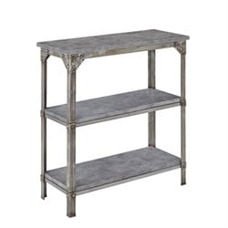 Bowery Hill 3 Shelf Console Table in Aged Metal