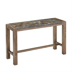 Bowery Hill Console Table in Wire Brushed with Slate Top