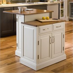 MER-1185 Bowery Hill Two Tier Kitchen Island in White and Oak