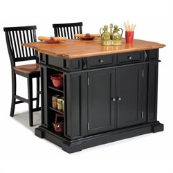 MER-1185 Bowery Hill Roll Out Leg Kitchen Island in Black and Oak