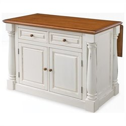 MER-1185 Bowery Hill Antiqued Kitchen Island in Antiqued White