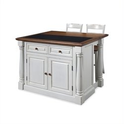 Bowery Hill Kitchen Island with Granite Top and Two Stools