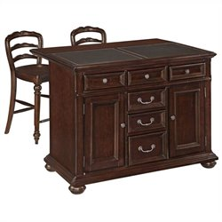 MER-1185 Bowery Hill Kitchen Island and Stools in Dark Cherry