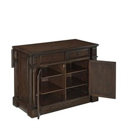 MER-1185 Bowery Hill Kitchen Island Cart in Black Oak