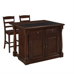 MER-1185 Monarch Kitchen Island with Granite Top and Two Stools
