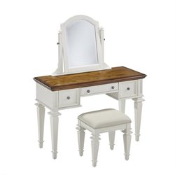 MER-1185 Bowery Hill Bedroom Vanity and Mirror in White and Oak
