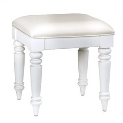 Bowery Hill Faux Leather Vanity Bench in White