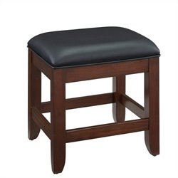 Bowery Hill Faux Leather Vanity Bench in Classic Cherry