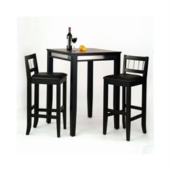 Bowery Hill 3 Piece Pub Set in Black