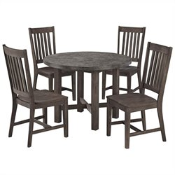 Bowery Hill 5 Piece Round Dining Set in Brown and Gray