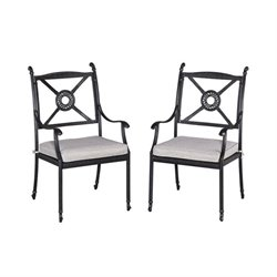 Bowery Hill Patio Dining Arm Chair in Charcoal (Set of 2)