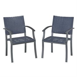 Bowery Hill Patio Dining Arm Chair in Black (Set of 2)