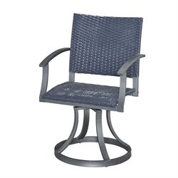 Bowery Hill Swivel Patio Dining Chair in Black