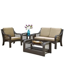 MER-1185 Bowery Hill Patio Sofa Set in Deep Brown