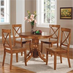 Bowery Hill 5 Piece Pedestal Dinette Set in Cottage Oak