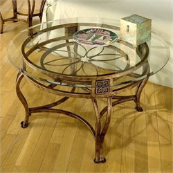 Bowery Hill Round Glass Top Coffee Table in Brown Rust