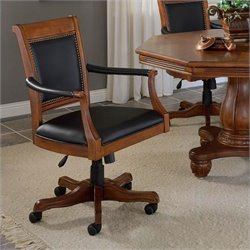 Bowery Hill Leather Game Chair in Light Cherry