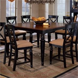 Bowery Hill Extendable Counter Height Dining Table in Black and Cherry