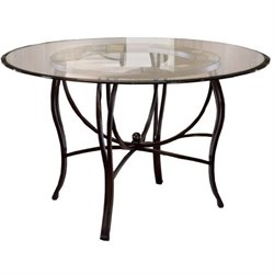 Bowery Hill Round Glass Top Metal Casual Dining Table in Black Gold