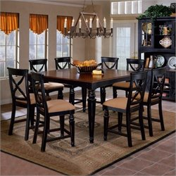 Bowery Hill 5 Piece Counter Height Dining Set in Black
