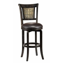 MER-1184 Leather Swivel Bar Stool in Black