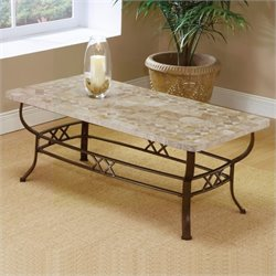 Bowery Hill Stone Top Coffee Table in Ivory