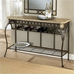 Bowery Hill Wine Rack Console Table in Ivory