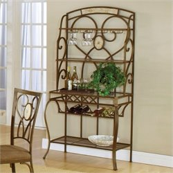 Bowery Hill Wine Rack Bakers Rack Metallic Brown
