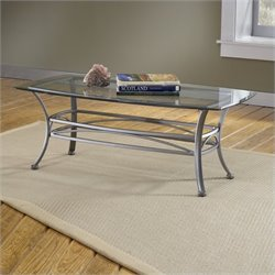 Bowery Hill Glass Top Coffee Table in Dark Pewter