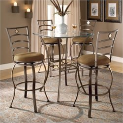 Bowery Hill 5 Piece Glass Top Pub Set in Brown