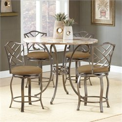 Bowery Hill 5 Piece Round Counter Height Dining Set in Brown