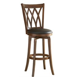MER-1184 Faux Leather Swivel Bar Stool in Brown Cherry 1