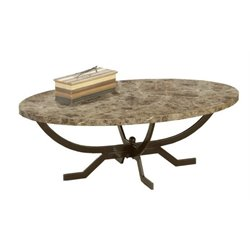 Bowery Hill Oval Faux Marble Top Coffee Table in Matte Espresso
