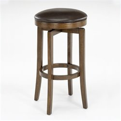 MER-1184 Faux Leather Swivel Bar Stool in Brown Cherry