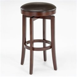 MER-1184 Faux Leather Backless Swivel Bar Stool in Cherry