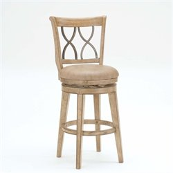 MER-1184 Faux Leather Swivel Bar Stool in White Wash