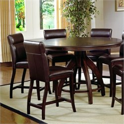 MER-1184 Round Counter Height Dining Set in Dark Walnut