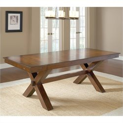 MER-1184 Extendable Trestle Dining Table in Dark Cherry