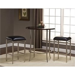 Bowery Hill 5 Piece Pub Set in Espresso and Nickel