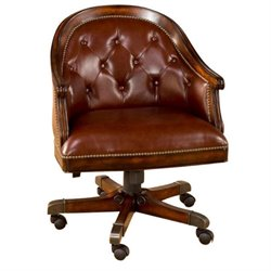 Bowery Hill Leather Swivel Game Chair in Rich Cherry
