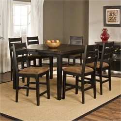 Bowery Hill 7 Piece Dining Set in Black and Antique Brown