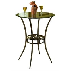 Bowery Hill Round Glass Top Pub Table in Gray